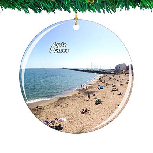 Weekino Frankreich FKK Strand Cap-d'Agde Weihnachtsverzierung Stadt Reise Souvenir Sammlung Doppelseitig Porzellan 2,85 Zoll Hängende Baumdekoration