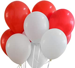 red and white striped latex balloons