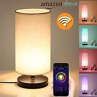 Alexa Smart Wi-Fi Table Lamp, Creative Circular Cloth Art Wood Linen Cloth Desk Lamp, Change Any Color LED Light, Compatible with Alexa Echo, Smartphone