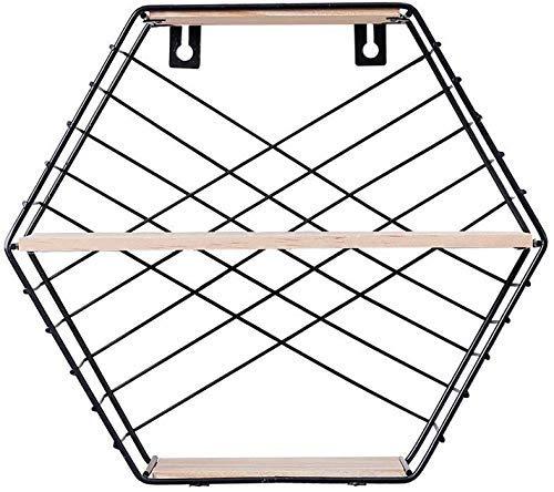 Pyrojewel Hexágono del arte del hierro montado en la pared estantes de doble capa flotante Plataforma Organizador soporte dormitorio Living Room Oficina estante de exhibición de la decoración mural (C