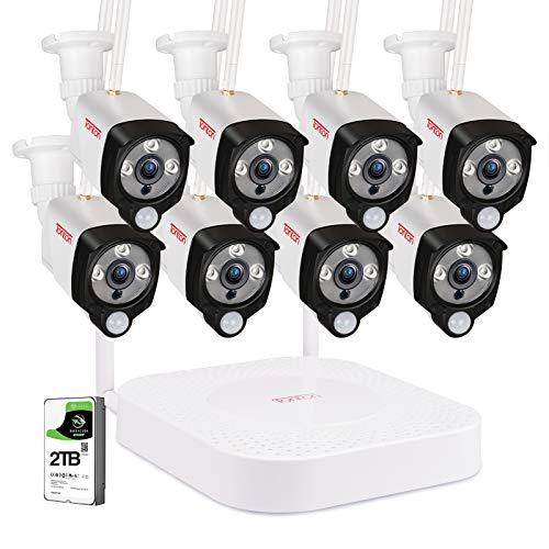 (Audio+PIR) Tonton Full HD 1080P Audio Wireless NVR System Überwachungsset mit 8 X 2.0MP WLAN Outdoor IP Überwachungskamera mit Tonübertrageung, Außen Wetterfest PIR Bewegungsmelder 2TB Festplatte