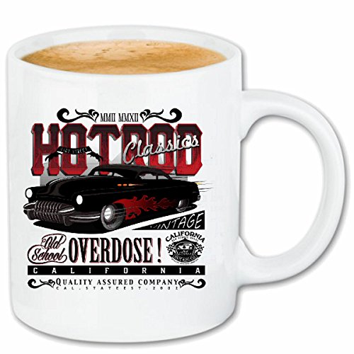 Reifen-Markt Kaffeetasse California HOT Rod Classic Vintage HOT Rod US CAR MUCLE CAR V8 Route 66 USA Amerika Keramik 330 ml in Weiß