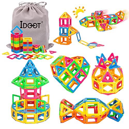idoot Magnetic Tiles Building Blocks Toddlers Toys Magnets for Kids,70PCS Magnetic Blocks STEM...