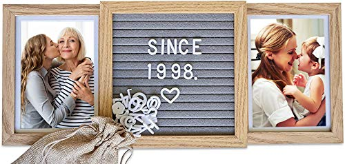 Personalized Picture Frame (Natural) with Genuine Felt Letter Board: Customizable Two Picture Frame for Best Friends, Birthdays, Goodbyes, Mothers Day, Grandkids, and More!