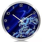 Home Fashion Reloj de Pared Bluelover Reloj de Cuarzo Grande Silencioso en la Habitación de la Estancia Moderna Reloj Electrónico Simple Creative Linked Table Silver, Tamaño: s, Z-B