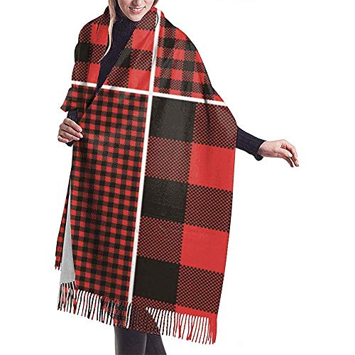 Cathy Red Buffalo Check Plaid S Houten valse plafond sjaal warm sjaal cape