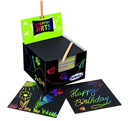 Beleduc Arts & Crafts Kratzbilder Geburtstag Block 200 Blatt mehrfarbiger Hintergrund mit 24 Kratzern