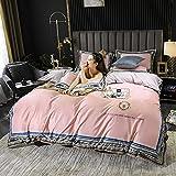 juego de edredón polar doble-Inicio Textil Textil Agua Lavado de agua Seda Seda Seda Bordado Lecho de cama Conjunto de cuatro piezas, Usado en Habitación Dormitorio Habitación para niños Apartamento