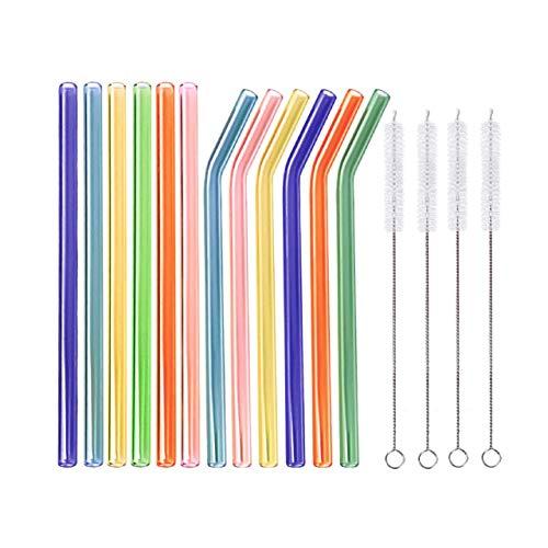 Thometzki - Cannucce in vetro, set da 12 pezzi, con 4 spazzole per la pulizia, cannucce in vetro da laboratorio ad alta resistenza, riutilizzabili, rispettose dell'ambiente