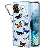 Spevert Galaxy S20+ Plus Case, Flower Pattern Printed Clear Design Transparent Hard Back Case with TPU Bumper Cover for Samsung Galaxy S20+ Plus 6.7 inch 2020 Released (Butterfly)
