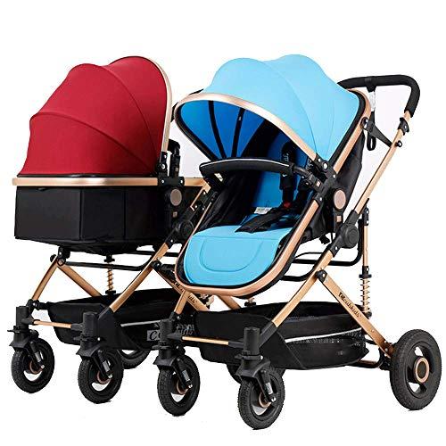 MYRCLMY Cochecitos de bebé Cochecitos Dobles Asiento Reversible Convertible en carrycot, Cochecito Ligero con Cuna Convertible Toldo extendido/Cesta de Almacenamiento Grande,Red+Blue