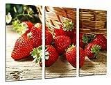 Cuadro Fotográfico Comestibles, Cocina, Fruteria,Fruta Acida Cesta de Fresas Tamaño total: 97 x 62 cm XXL