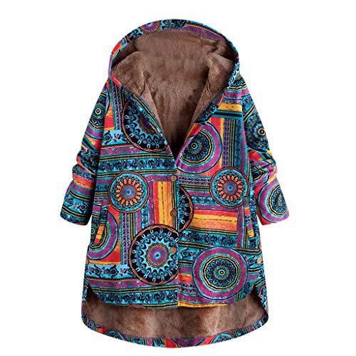 Lazzboy Frauen Ethnischer Druck Mit Kapuze Langer Hülsen Knopf Winter Mantel Winterjacke Damen Jacke Warm Outwear Hooded Taschen Vintage Oversized Hoodie Dicke(Blau,XL)