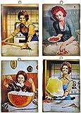 KUSTOM ART Set mit 4 Bildern im Vintage-Stil, berühmte