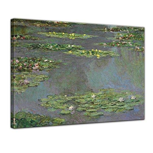Leinwandbild Claude Monet Seerosenteich - 120x90cm quer - Alte Meister Keilrahmenbild Leinwandbild Alte Meister Gemälde Kunstdruck Bild auf Leinwand