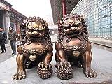 FEEE-ZC Chino clásico Bronce Cobre Evil Guardian Puerta Bei Jing Fu Foo Perro León par decoración artesanías estatuas y esculturas