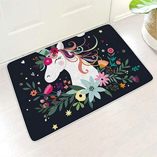 Veryday Felpudo de goma con diseño de unicornio y flores, para la entrada o la entrada, 40 x 60 cm, color blanco