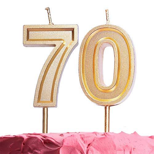 GET FRESH Number 70 Birthday Candle - Large Gold Number Seventy Candles on Stick – Elegant Gold Number Candles for Birthday Anniversary – 70th Birthday Candle Cake Topper – Large Gold 70 Candles