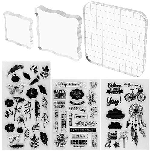 Juego de 3 sellos de acrílico transparente de Meetory con 3 hojas de sellos de silicona para álbumes de recortes, manualidades, decoración de tarjetas, varios tamaños