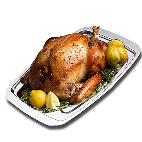Placa de acero inoxidable calefactable de 35,5 x 25 x 1,5 cm para asar pollo, bandeja de microondas para hornear pavo para hornear carne, plato para calentar alimentos en ollas a presión