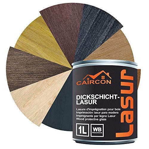 Dickschichtlasur 2in1 | Holzlasur für Innen und Außen | Dauerschutzlasur Holzschutzlasur Wetterschutz Holzpflege - Ebenholz 1L