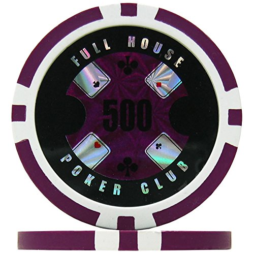 Full House Poker Club Poker Chips - Purple 500 (Roll of 25), 14g Clay...