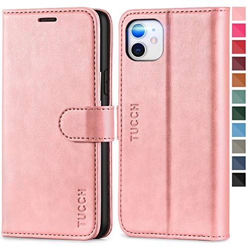 TUCCH iPhone 11 Hülle, TPU Handyhülle [Schützt vor Stößen] [RFID Blocker] [Aufstellfunktion] [Kartenfach] [Magnetverschluss], Stoßfeste Schutzhülle Lederhülle Kompatibel für iPhone 11 (6,1) Roségold