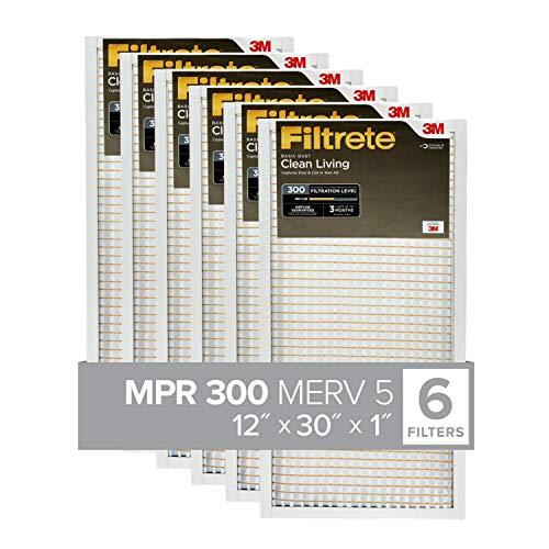 Filtrete 12x30x1, AC Furnace Air Filter, MPR 300, Clean Living Basic Dust, 6-Pack (exact dimensions 11.81 x 29.81 x 0.813)