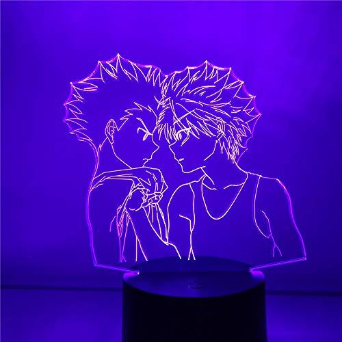 3D stereo notte luce cacciatore x cacciatore frecs e killua led notturno luce lampara hxh decor camera letto illuminazione home decor lore lampe colorato notte scrivania luce appassionati fan di Otaku