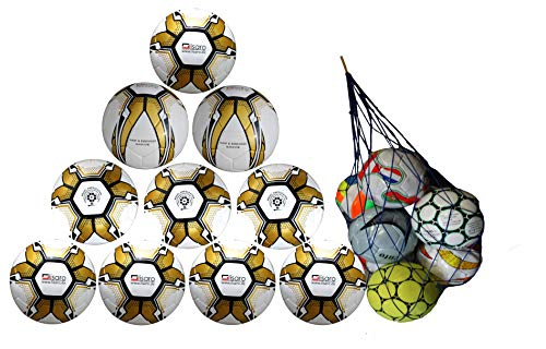 Lisaro - Trainingsbälle für Fußball in weiß mir gold design, Größe Gr. 5 / 415 - 425 gram