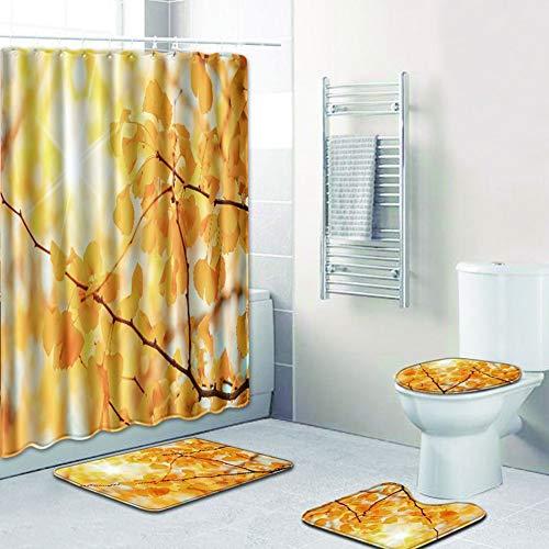 LanLan Set van 4 stuks met linnen bedrukte mat voor badkamer douchegordijn