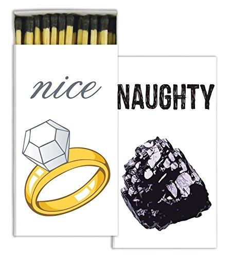 MY SWANKY HOME Naughty or Nice Christmas Holiday Matches | Set 10 Stocking Stuffer Gift