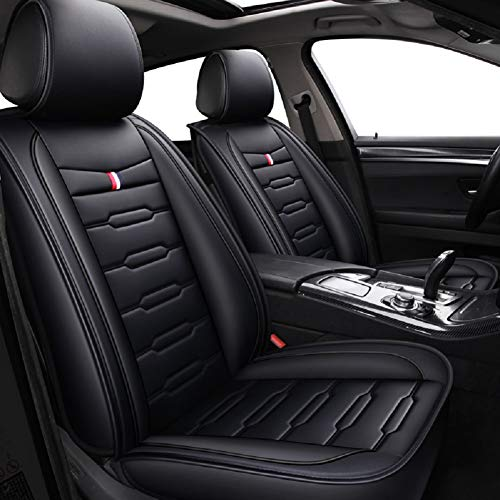 DSJ-Black /& Red LUCKYMAN CLUB 09-DSJ Car Seat Covers Compatible with Side Air Bags,with Waterproof Faux Leather Fit for Most SUV Truck Sedan