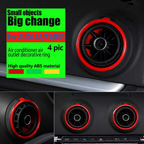 HIWEIS Automotive air Conditioning Ventilation Ring, Console Decorative Ring, air Outlet Cover Decorative Ring, Suitable for Audi A3 / S3 / RS3 Automobile Accessories, 4 Pieces/Set (Green)