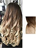 DevaLook 20 Inches 3/4 Full Head Clip in Hair Extensions Ombre One Piece 2 Tones Wavy Curly (Chocolate brown to sandy blonde) DL
