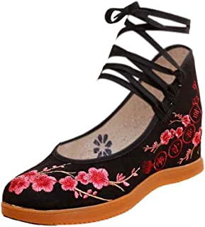 Aiweijia Ladies Retro Dance Floral Pattern Increased Bottom Embroidered Shoes