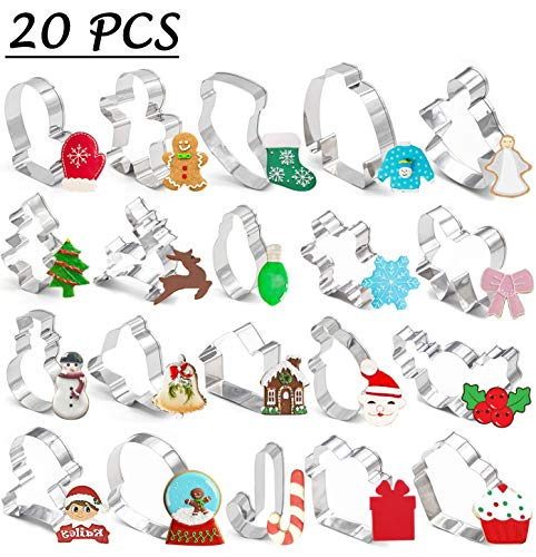 20PCS Christmas Cookie Cutters - Xmas/Holiday/Wonderland Party Supplies/Favors - Snowflakes/Gingerbread Man