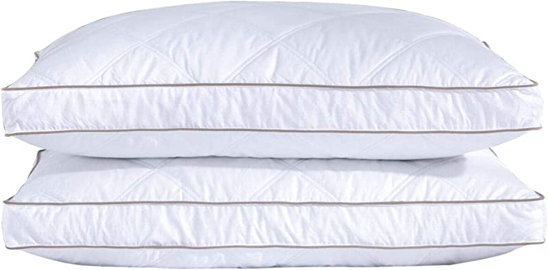 Puredown Natural Goose Down Feather Pillows For Sleeping Down Pillow 100 Cotton Pillow Cover Downproof King Set Of 2