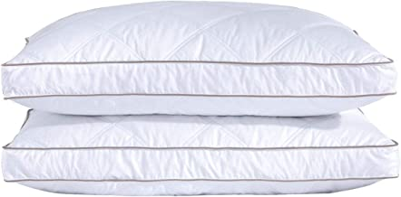 puredown Natural Goose Down and Feather Pillows for Sleeping Down Pillow 100% Cotton Pillow Cover Standard/Queen Set of 2