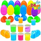 JOYIN 24 PCs Filled Easter Eggs with Mini Glitter Putty Slime, Bright Colorful Easter Eggs Prefilled with Various Ultimate Silly Fluffy Slime for Kids