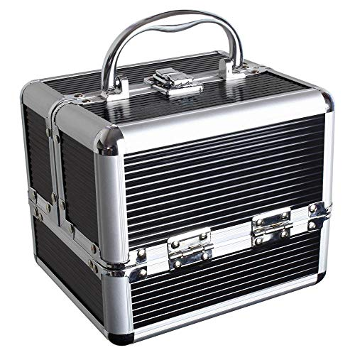 iGadgitz Home U7037 - Aluminium Kosmetikkoffer, Schminkkoffer, Beautycase, Makeupbox - 4x ausklappbare Fächer, großes Bodenfach & Tragegriff - Schwarz - Klein