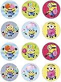 Dekora - 6 Mini Discos Comestibles de Los Minions para Cupcakes, Muffins o Galletas - 5,8 cm