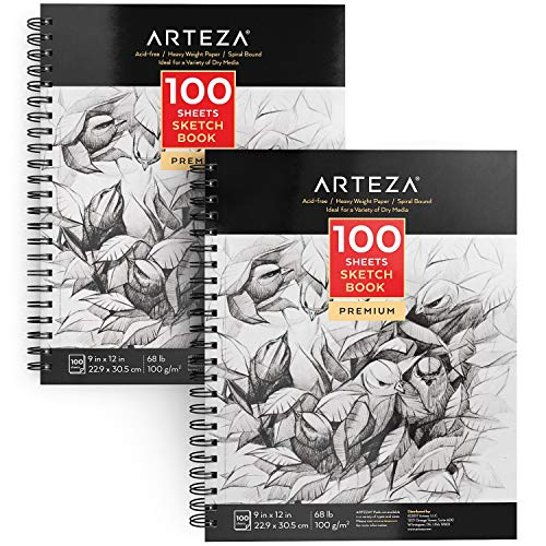 Arteza 9X12' Sketch Book, Pack of 2, 200 Sheets (68 lb/100gsm), Spiral Bound Artist Sketch Pad, 100 Sheets Each, Durable Acid Free Drawing Paper, Ideal for Kids & Adults, Bright White