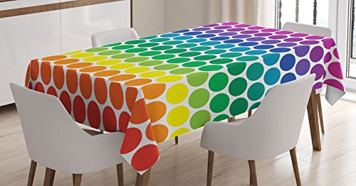 Ambesonne Polka Dots Tablecloth, Illustration of Rainbow Colored Dots Big Circles Spots Kids Nursery Theme Print, Rectangular Table Cover for Dining Room Kitchen Decor, 60