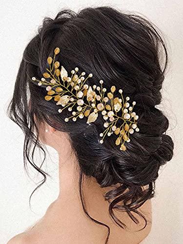 Vakkery - Diadema para el pelo de boda con cristales dorados y hojas para novia, accesorio para el pelo para mujeres y niñas