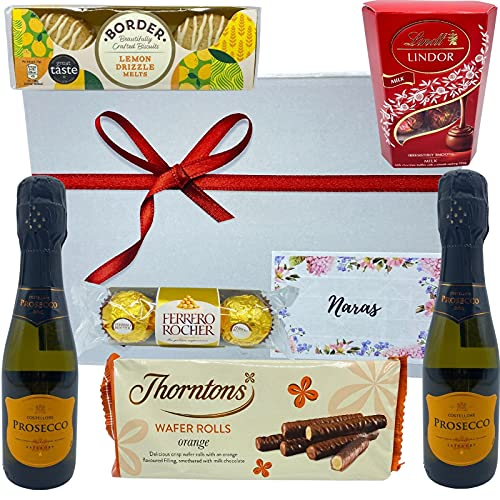 Prosecco Gift Set - 2X Prosecco Fruit Extra Dry Wine, Chocolate, Biscuits and Wafer Rolls - Alcohol Gift Hampers for Couples, Birthday Gifts for Her, Presents for Men & Women on Any Occasions