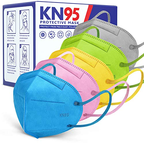 KN95 Face Mask [30pcs], Included on List, AnanBros 5 Layers Comfortable Breathable Mascarillas KN95 Mask, Efficiency over 98.1% Against PM2.5 Dust (Blue, Pink, Green, Yellow, Grey)