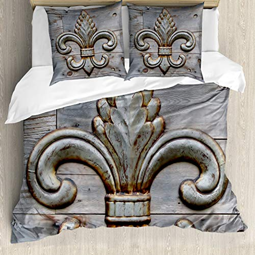 ABAKUHAUS Fleur De Lis Duvet Cover, Lily on Weathered Old Wooden Planks Historical Theme Image, Decorative 3 Piece Bedding Set with 2 Pillow Shams, 200 cm x 200 cm, Grey Brown