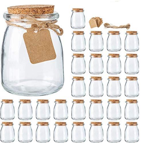 Mini-Einmachgläser mit Korkdeckel, 30 Stück, 200 ml, Hochzeitsgeschenke, Honigtopf, mit Etikettenanhänger und Schnur