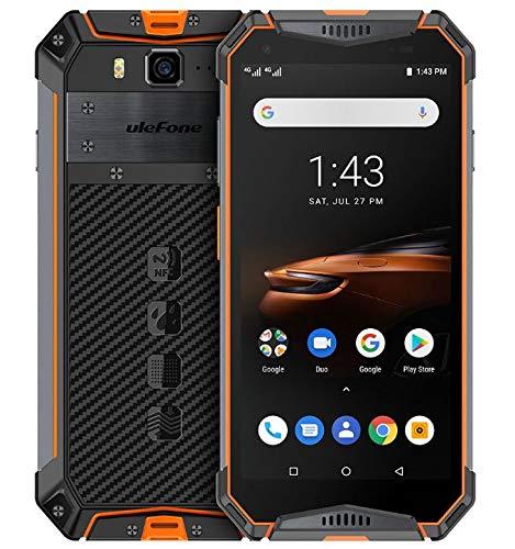Ulefone Armor 3W - (2019) Móvil Antigolpes con Batería 10300mAh, Helio P70 6GB + 64GB, Cámara 21MP + 8MP, 5.7 Pulgadas FHD + Teléfono Resistente Android 9.0, NFC/GPS/Carga Inalámbrica Naranja